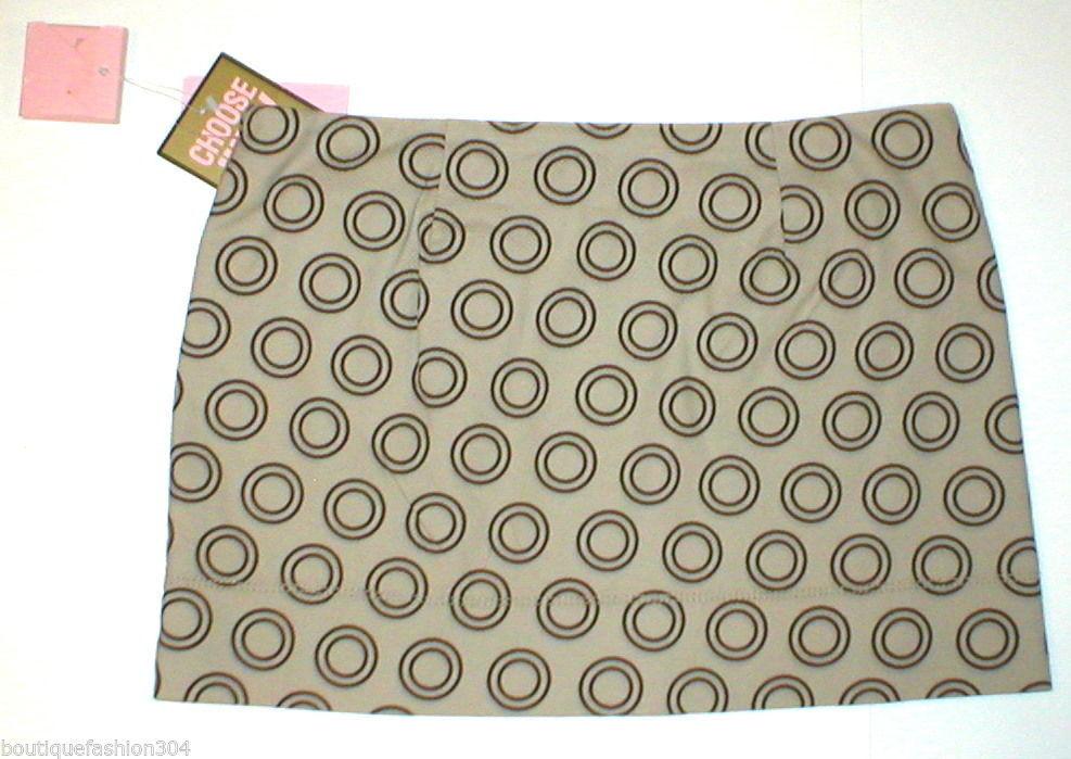 NWT $168 Juicy Couture L Womens Mini Bryant Tan Black Large Skirt Circles New