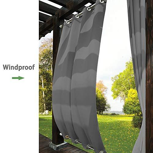 TWOPAGES Outdoor Curtain Antique Bronze Grommet Waterproof DrapeBoth Top and Bot