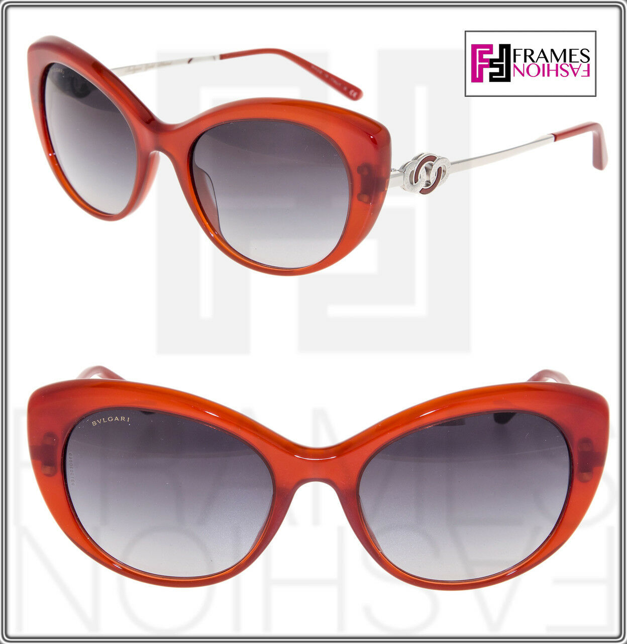 BVLGARI Le Gemme BV 8141K Translucent Red 18K Gold Plated Edition Sunglasses