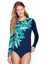 Lands End Women's Long Sleeve Swim Tee Rash Guard Deep Sea Cascade Leaf New - $39.99