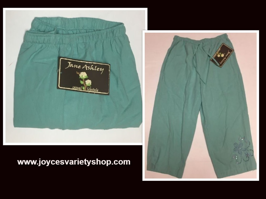 Jane Ashley Casual Lifestyle Lime Aqua Capri Pants Sz L Drawstring