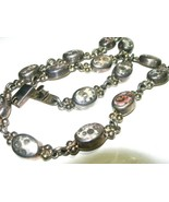 VINTAGE MEXICO STERLING SILVER HEAVY FOSSIL STONE NECKLACE TONGUE CLASP ... - $200.00
