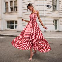 Women's Vintage Red White Striped Long Summer  Maxi Sundress image 2