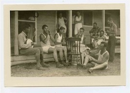 1930's Texas A&M Summer Engineering Camp Photo Men on Porch in Underwear... - $37.62