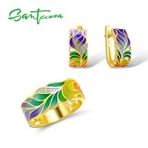 SANTUZZA Jewelry Set For Woman HANDMADE Colorful Enamel White CZ Stones ... - $44.57