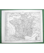 1844 MAP Original Antique - FRANCE & List of Departments - $6.71