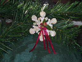 White Sequin Snowflake Christmas Ornament with Rosebuds & Ribbon - Beaut... - $0.99
