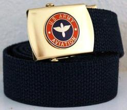 US Army Aviation Blue Military Belt & Brass Buckle - $10.99