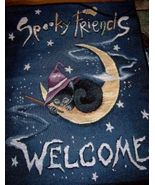 Spooky Friends Welcome Halloween Banner Witch Cat NEW - $15.00