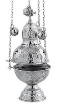 Nickel Plated Christian Church Thurible Incense Burner Censer (9394 N) - $73.04