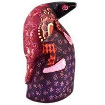Handmade Oaxacan Copal Wood Carving Painted Folk Art Iguana Lizard Rock Figure image 5