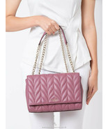 Kate Spade Briar Lane Quilted Emelyn Chain Strap Flap Shoulder Bag Plum ... - $128.69