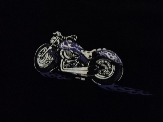 Woman's Little Black Cotton T-Shirt With Motorcycle Graphic
