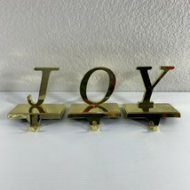 Metal Gold Colored JOY Stocking Holders Hangers Lot of 3 Christmas Holiday - $18.81