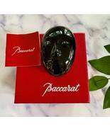 Baccarat Tiki Mask Paperweight Rare Black New in Box + Free Display Pede... - $147.51