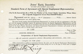 BLANCHE RING Silent film actress 1935  SIGNED ACTORS' EQUITY DOCUMENT fo... - $49.50