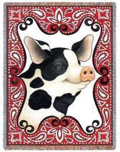 70x54 PIG Farm Animal Bandana Tapestry Throw Blanket - $60.00