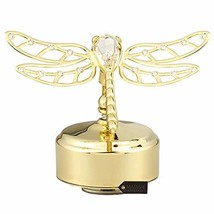 Matashi 24K Gold Plated Music Box with Crystal Studded Dragonfly Figurin... - $51.26