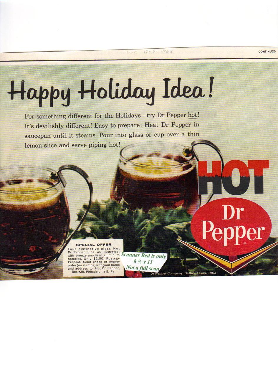 Hot Dr Pepper original 1963 magazine print ad.