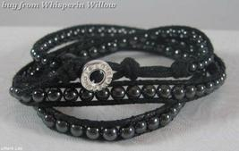 Geniune Hematite Gypsy Wrap Bracelet with Inscribed Sterling Silver Clasp - $38.95