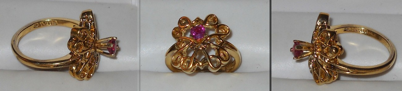 Avon Gold on Sterling Filigree Ring with Ruby like Stone