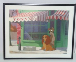 Disney Picture Lady Tramp Outside Tony's Framed Print Childs Room Vintage - $49.95