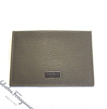 J-551110 New Salvatore Ferragamo Pebble Gray Leather Credit Card Case Wa... - $239.99