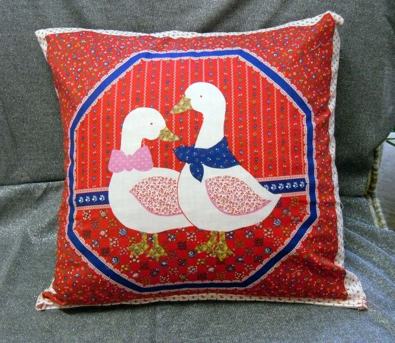 Throw Pillow Cover, Duck Couple on Red (D)