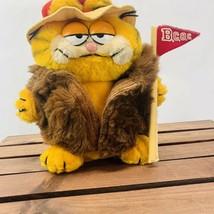 "Dakin Plush Garfield 1981 Plush 9"" Fur Coat Hat Flag Big Cat on Campus C... - $27.35"