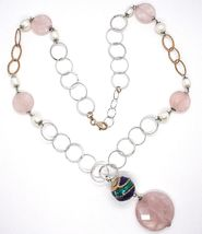 925 Silver Necklace, Rose Quartz Disk, Chain Rolo worked, Pearls, 70 cm image 3