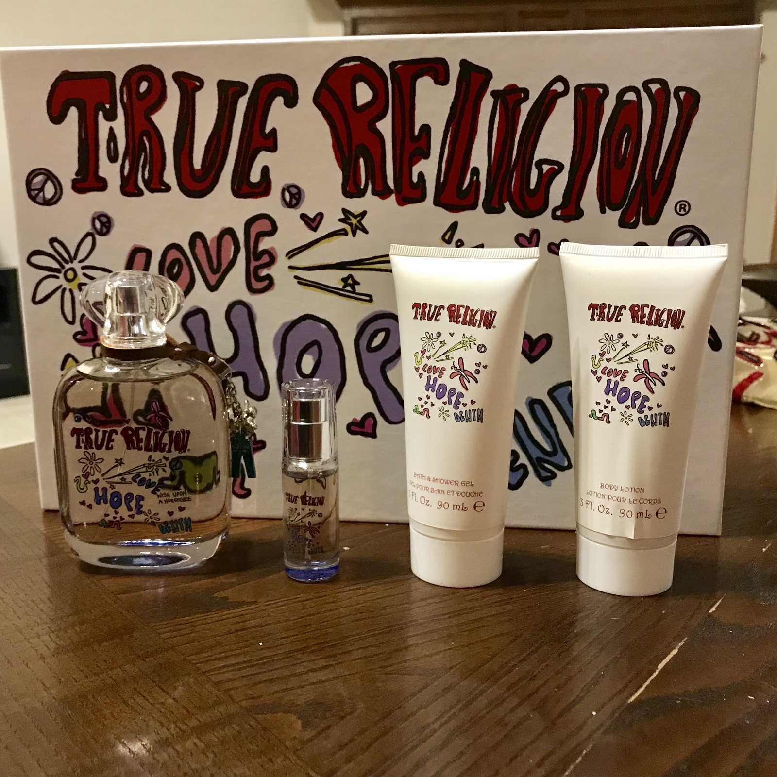 True Religion Love Hope Denim 4Pcs Women Set 3.4 oz + 0.25 + Lotion + Shower Gel