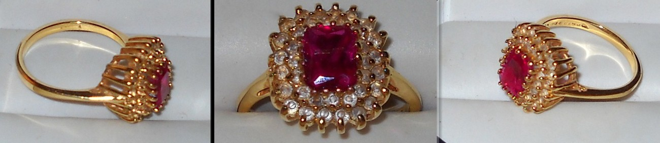 14K HGE with Large Imitation Ruby and Diamonds Ring