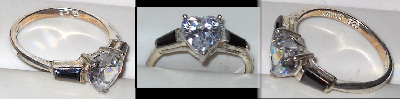 Sterling Silver Heart CZ with Onyx Accent Stones Ring