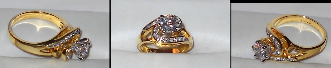 Goldtone Simulated Diamond Dinner Ring