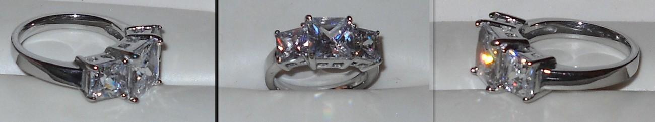 Princess Cut Simulated Diamond Trilogy Ring