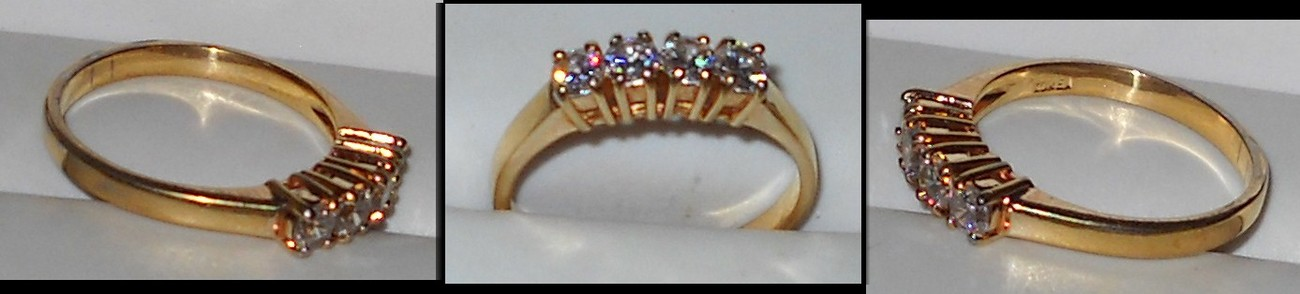 Anniversary Ring with 4 Simulated Diamonds