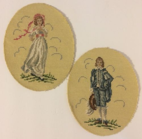 Vintage Pinkie & The Blue Boy Set of 2 Completed Hand Embroidered Ovals Unframed