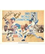 sandy koufax don drysdal maury wills sweet lou johnson autograph 1965 do... - $399.99