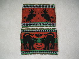 Two Halloween Place Mats One With Witches And One With Cats And Jack O L... - $9.99