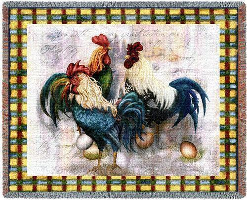 70x54 ROOSTER Chicken Country Tapestry Throw Blanket