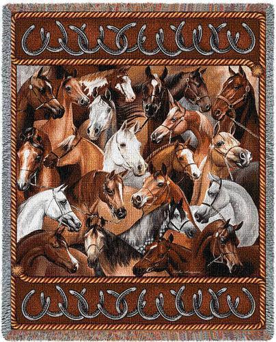 Primary image for 70x54 HORSES Bridled Western Southwest Tapestry Afghan Throw Blanket