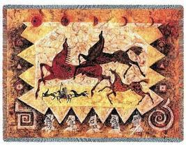 70x53 Oglalas Native HORSE Cave Drawing Southwest Tapestry Afghan Throw Blanket - $60.00