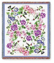 70x54 Hummingbird Tapestry Floral Afghan Throw Blanket - $60.00