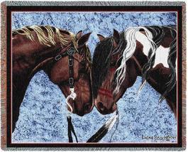 70x54 Native American Indian HORSE Western Southwest Afghan Throw Blanket  - $60.00
