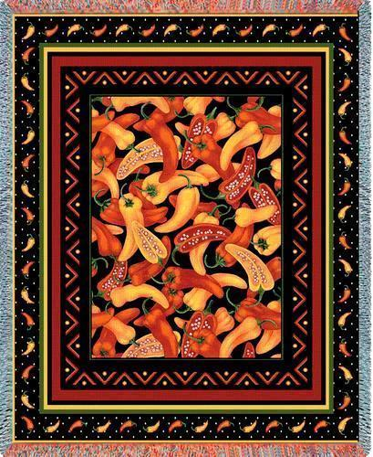 70x53 CHILI PEPPERS Southwest Afghan Throw Blanket