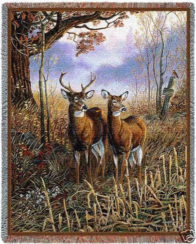 70x54 White Tail DEER Doe Jacquard Throw Blanket Afghan