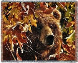 70x54 BEAR Fall Leaves Wildlife Tapestry Throw Blanket - $60.00