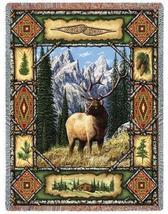 70x53 DEER ELK Lodge Tapestry Afghan Throw Blanket  - $60.00