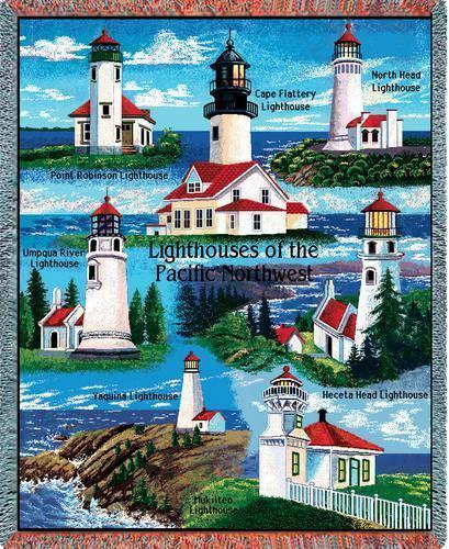 70x53 Pacific NW LIGHTHOUSE Jacquard Throw Blanket