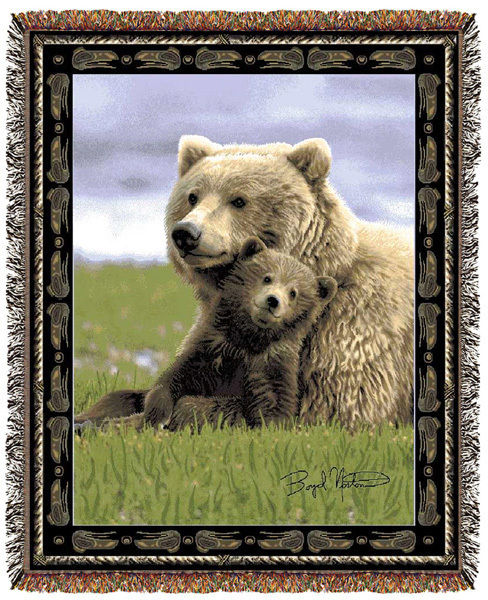 Primary image for 67x53 BEAR Cub Wildlife Nature Tapestry Throw Blanket